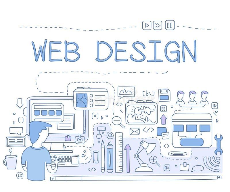 Diseñe los gráficos del diseño web, la herramienta de la pluma para crear UI, el marco móvil de UI y de UX, creando los bosquejos stock de ilustración