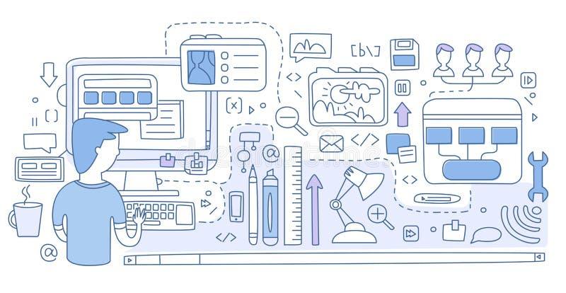 Diseñe los gráficos del diseño web, la herramienta de la pluma para crear UI, el marco móvil de UI y de UX, creando los bosquejos ilustración del vector