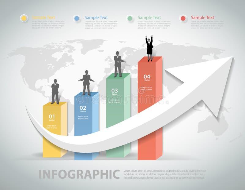 Diseñe los pasos limpios de la plantilla 4 con crecen la flecha para el concepto del negocio libre illustration