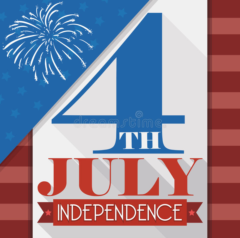 Diseñe para el 4 de julio con los fuegos artificiales en el estilo plano, ejemplo del vector libre illustration