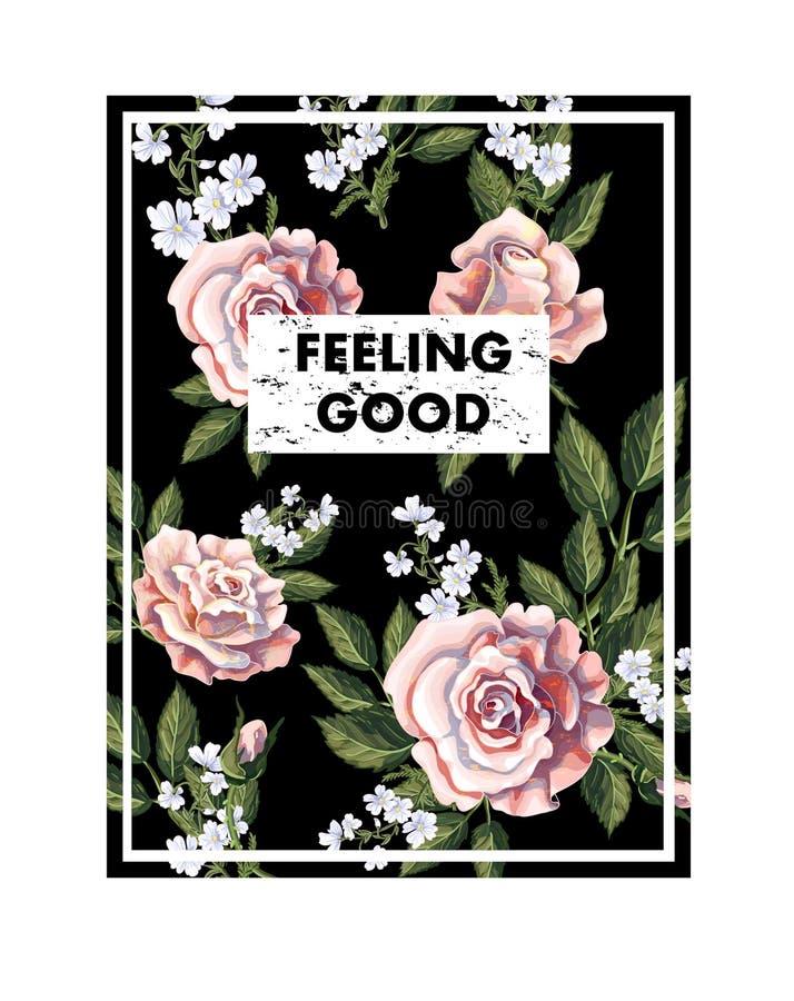 Diseñe para la camiseta de la impresión con el ramo, el lema y el cuadrado de las rosas de té Ilustración del vector stock de ilustración