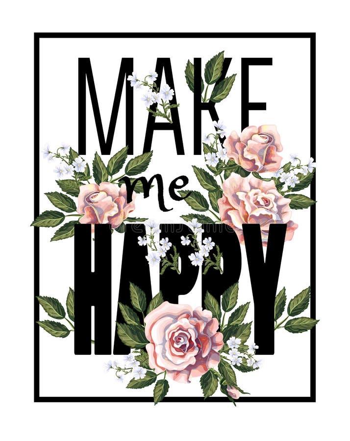 Diseñe para la camiseta de la impresión con el ramo, el lema y el cuadrado de las rosas de té Ilustración del vector libre illustration