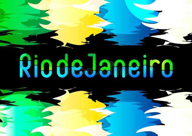 Diseñe para la invitación brasileña, cartel de la felicitación, bandera, tarjeta con la muestra Rio de Janeiro del texto en estil ilustración del vector