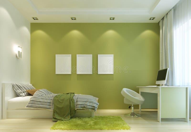 Diseñe un cuarto de niño en un estilo contemporáneo, con una cama y una a ilustración del vector