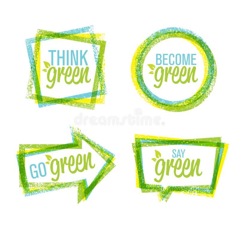 Diseño áspero natural de la etiqueta y sistema verde del icono de las letras diseñadas de Eco stock de ilustración