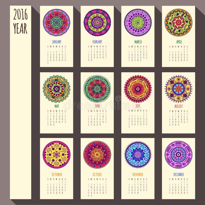 diseño étnico del calendario de 2016 años, inglés, domingo ilustración del vector