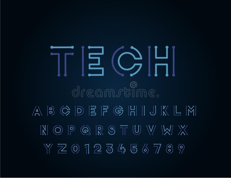 Diseño único de la tipografía de la fuente de vector de la tecnología Para la tecnología, los circuitos, la ingeniería, digital,  stock de ilustración
