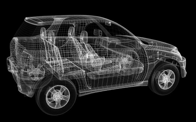 diseño 3D de coche stock de ilustración