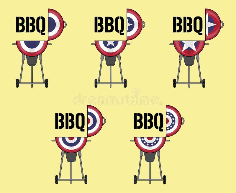 Diseño abierto del Bbq de la tapa con la bandera patriótica del empavesado libre illustration