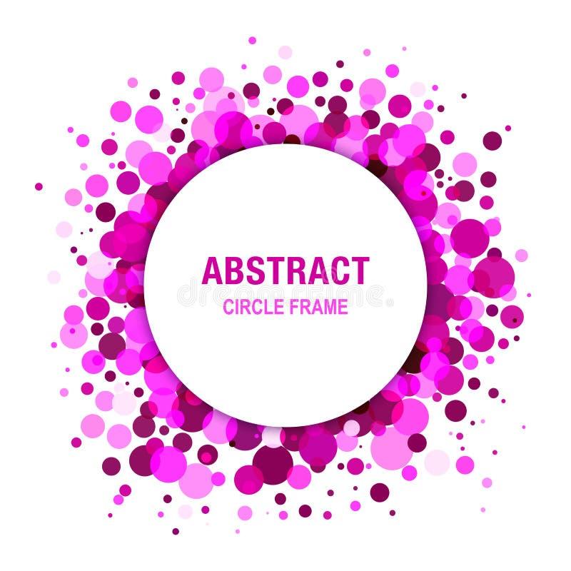 Diseño abstracto brillante púrpura del marco del círculo stock de ilustración