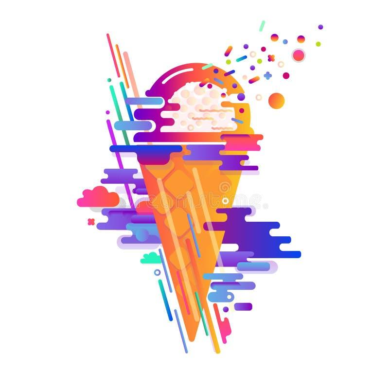 Diseño abstracto colorido con el helado, taza de la galleta Rayas redondeadas modernas, pendientes stock de ilustración