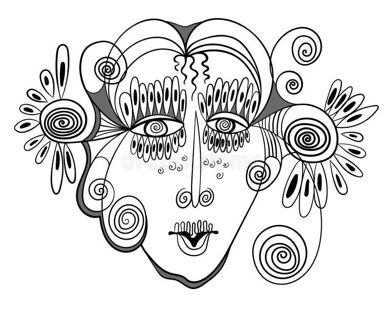 Diseño abstracto con la cara de la mujer stock de ilustración