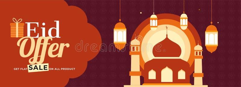 Diseño abstracto de Eid Mubarak Biggest Sale en el fondo marrón para la portada libre illustration