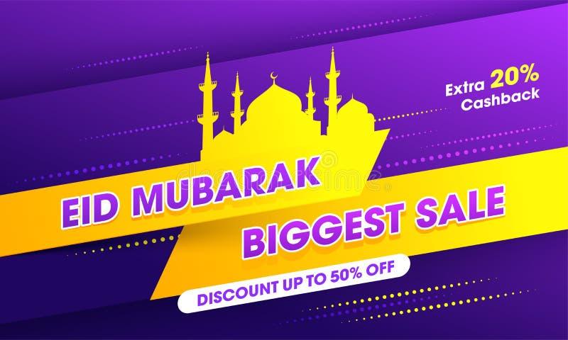 Diseño abstracto de Eid Mubarak Biggest Sale en fondo rayado libre illustration