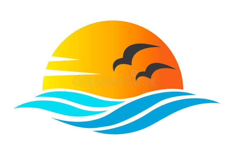 Diseño abstracto de icono o de logotipo del océano con el sol, las ondas del mar, puesta del sol y el silhoutte de las gaviotas e stock de ilustración