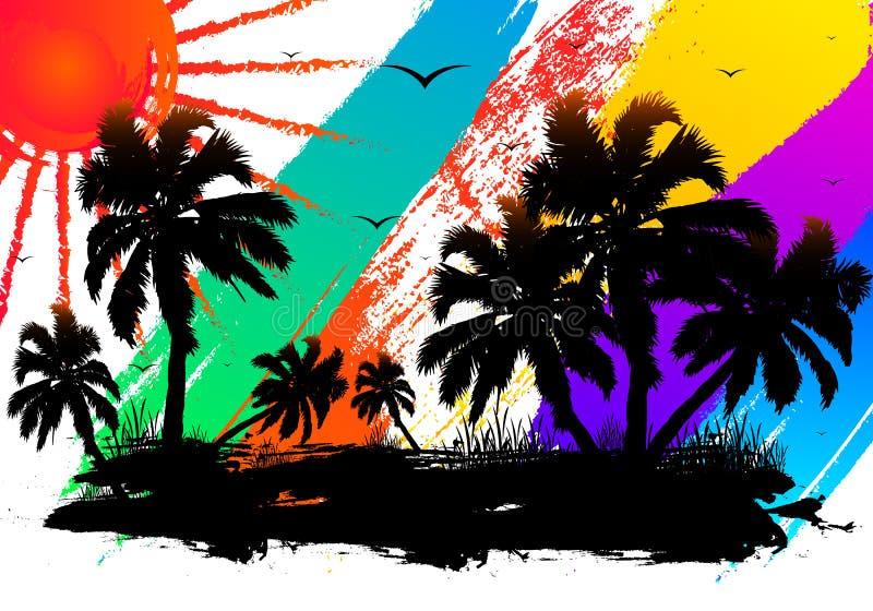 Diseño abstracto de la acuarela de una playa tropical stock de ilustración
