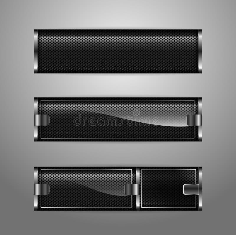 Diseño abstracto de la bandera del metal de la colección horizontal ilustración del vector