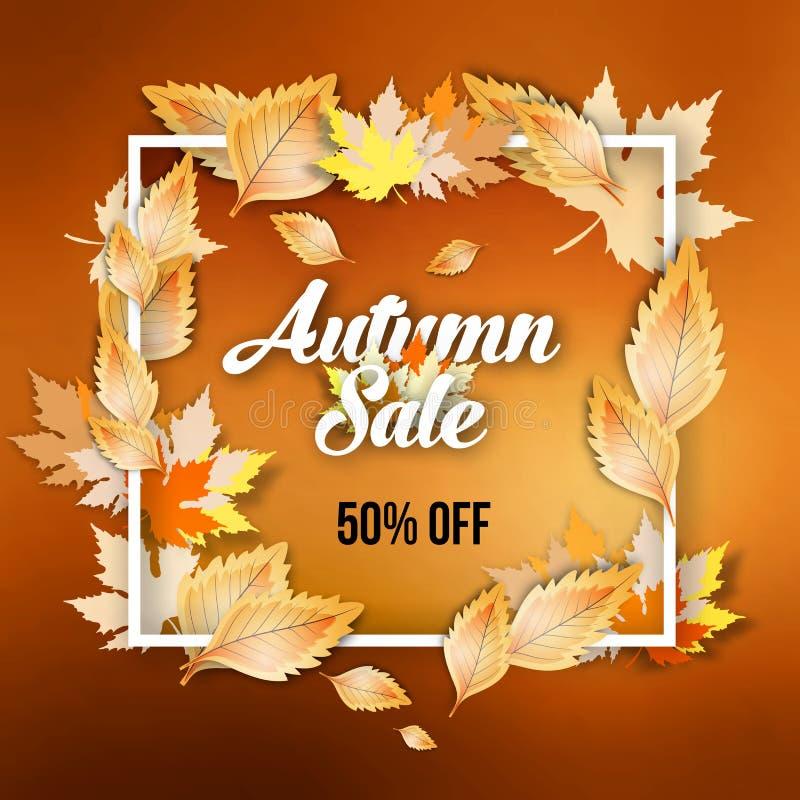 Diseño abstracto de la bandera de la oferta de la venta del otoño con el marco stock de ilustración