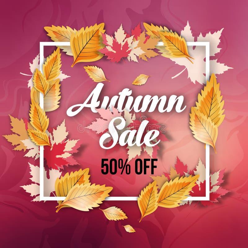 Diseño abstracto de la bandera de la oferta de la venta del otoño con el marco ilustración del vector