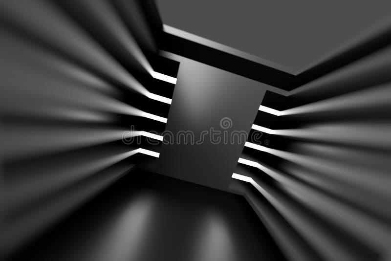 Diseño abstracto de la configuración Backgrou interior futurista negro stock de ilustración