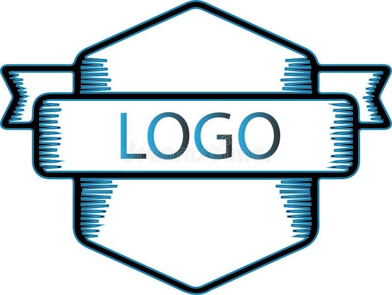 Diseño abstracto de la insignia del logotipo en blanco stock de ilustración