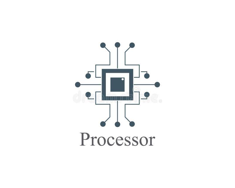 diseño abstracto de la plantilla de la tecnología del logotipo del procesador ilustración del vector
