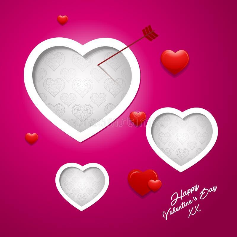 Diseño abstracto de la tarjeta de felicitación del fondo de día de San Valentín stock de ilustración