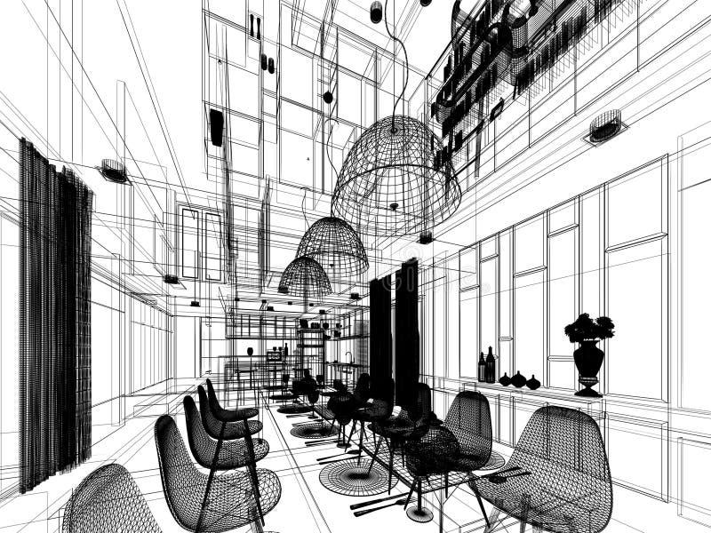 Diseño abstracto del bosquejo de comedor interior stock de ilustración