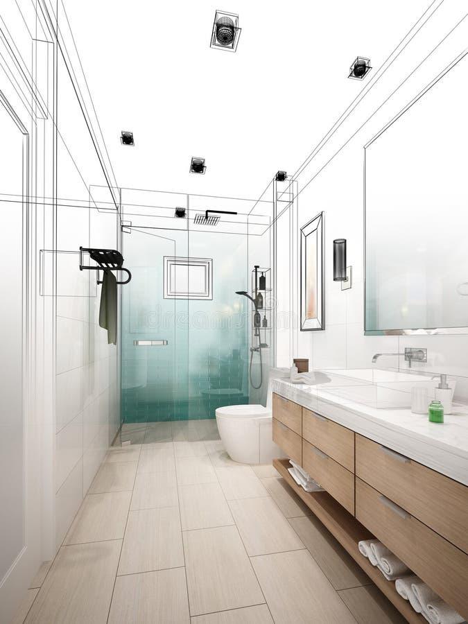 Diseño abstracto del bosquejo de cuarto de baño interior stock de ilustración