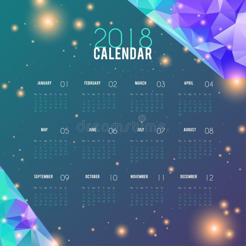 Diseño abstracto del calendario 2018 Plantilla del planificador, horario mensual elegante La semana empieza de lunes Ilustración  ilustración del vector