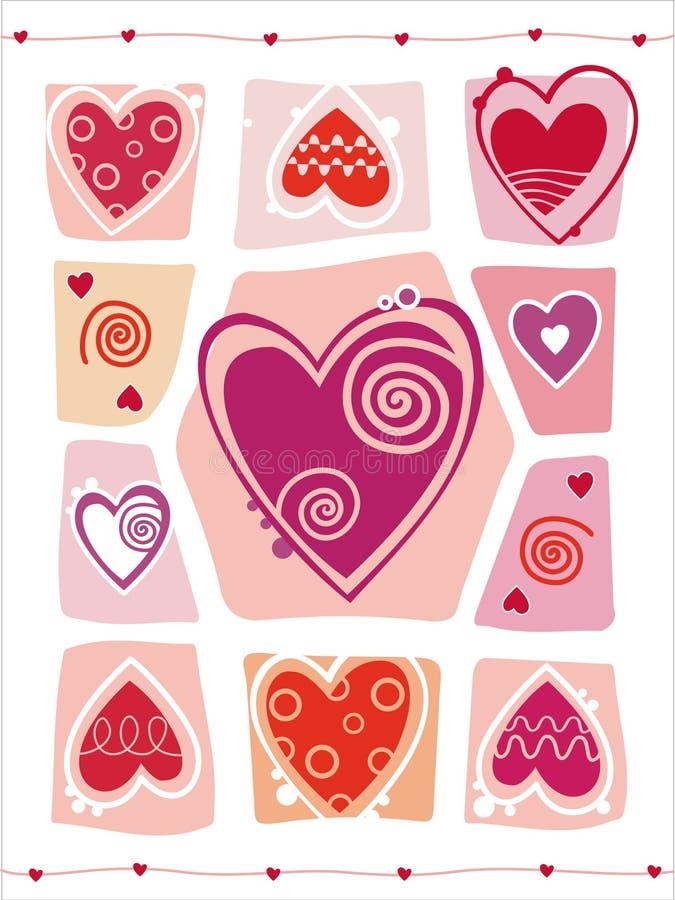 Diseño abstracto del día de tarjetas del día de San Valentín con el corazón. ilustración del vector