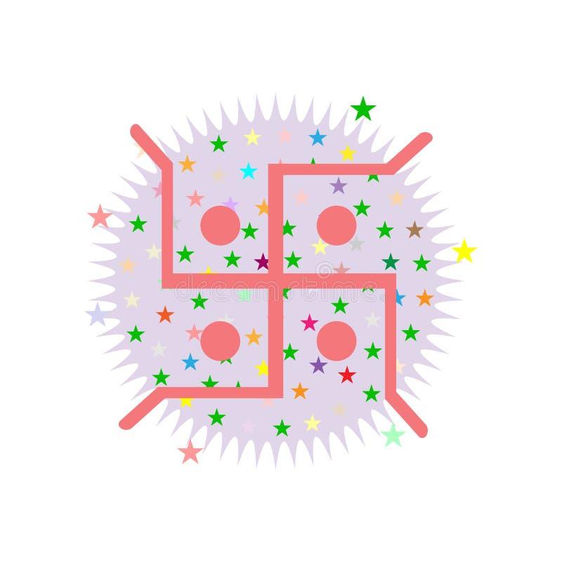 Diseño abstracto del dewali con la cruz gamada festiva en el fondo blanco stock de ilustración