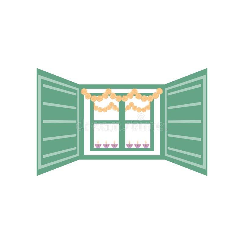 Diseño abstracto del dewali con la ventana adornada en el fondo blanco libre illustration