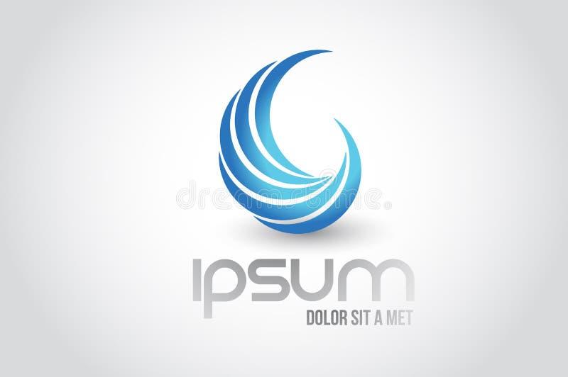 Diseño abstracto del ejemplo del símbolo del logotipo de la onda libre illustration