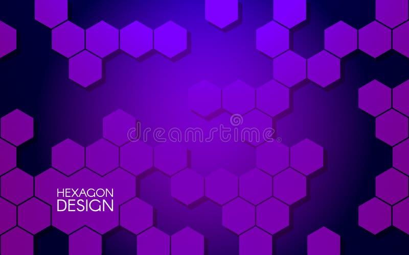 Diseño abstracto del hexágono Concepto moderno para el sitio web Fondo violeta Estructuras y formas hexagonales Vector ilustración del vector