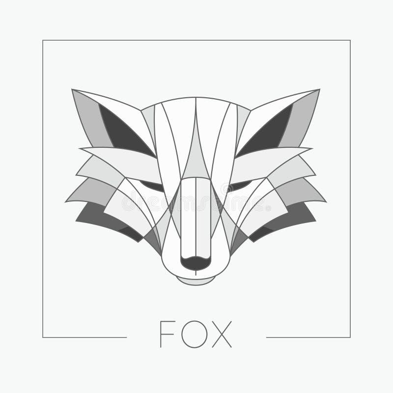 Diseño abstracto del icono del emblema de la cabeza del zorro con la línea elegante estilo de las formas stock de ilustración
