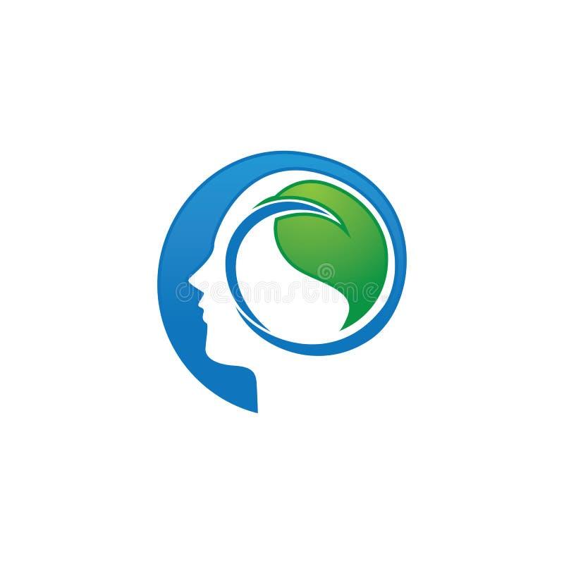 Diseño abstracto del logotipo de la cabeza humana con la hoja stock de ilustración