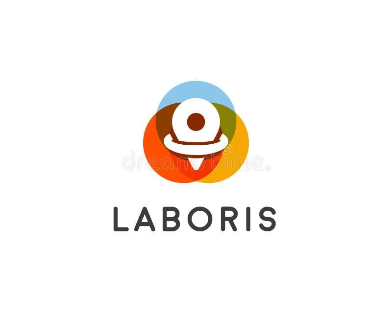 Diseño abstracto del logotipo del perno Símbolo creativo de la ubicación Icono universal del vector del mapa de la navegación stock de ilustración