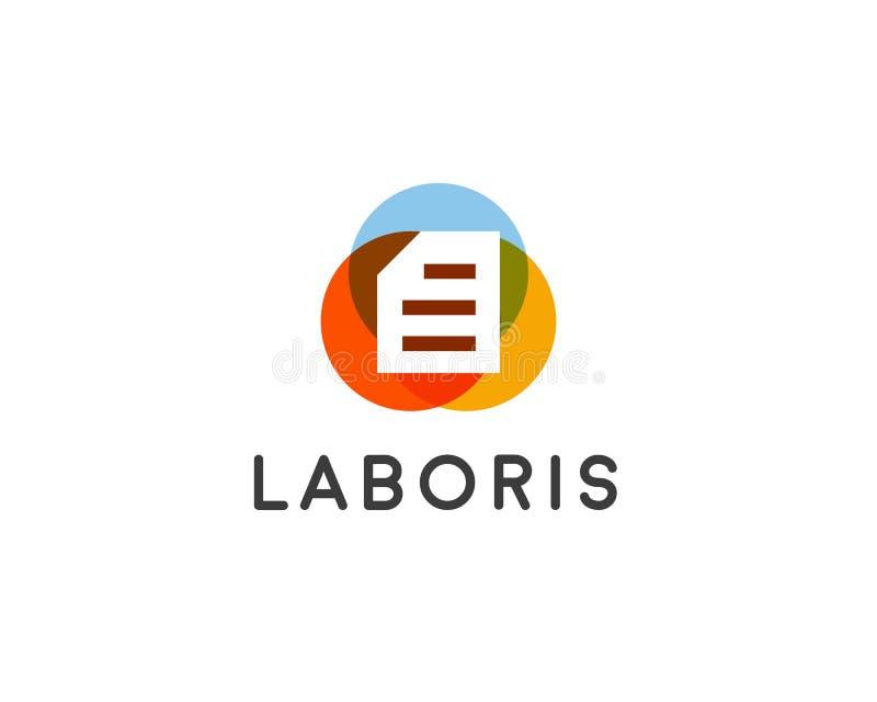 Diseño abstracto del logotipo del vector del documento Logotipo creativo de la información de fichero de papel stock de ilustración