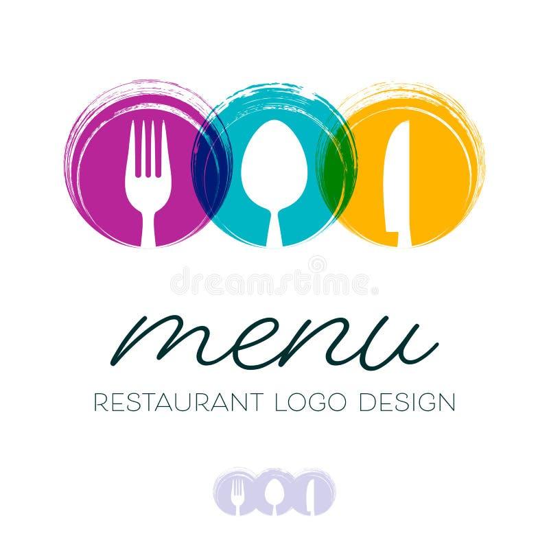 Diseño abstracto del logotipo del menú del restaurante stock de ilustración