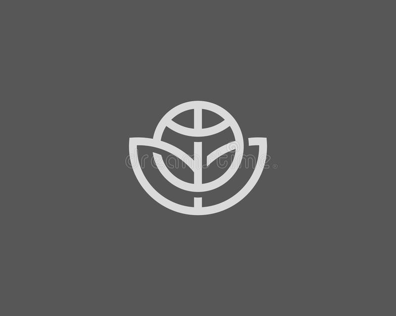 Diseño abstracto del logotipo del vector de la flor de globo Logotipo global del eco de la hoja Símbolo linear del icono de la bo stock de ilustración