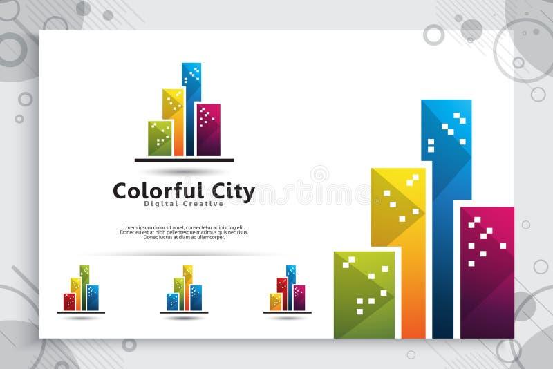 Diseño abstracto del logotipo del vector del edificio de la ciudad con concepto colorido, el icono del símbolo de residencial, el libre illustration