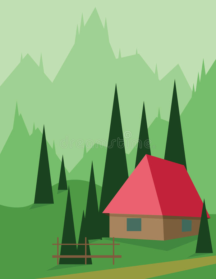 Diseño abstracto del paisaje con los árboles y las colinas verdes, una casa roja en las montañas, estilo plano stock de ilustración
