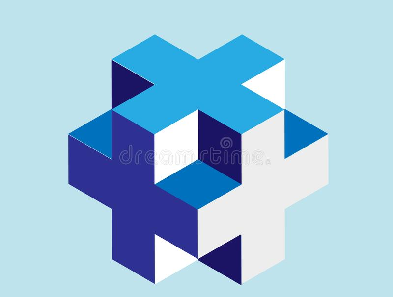 Diseño abstracto, logotipo cúbico de la forma 3D stock de ilustración