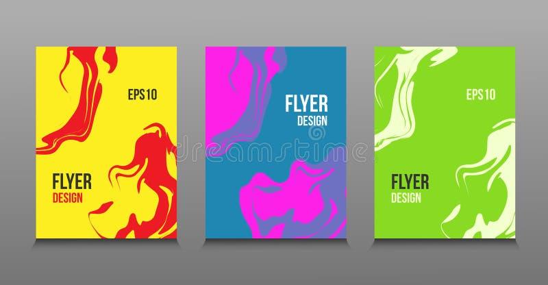 Diseño abstracto moderno de pinturas líquidas brillantes coloreadas stock de ilustración