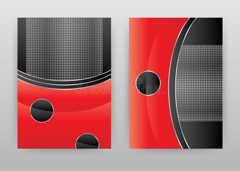 Diseño abstracto negro rojo para el informe anual, folleto, aviador, cartel Ejemplo geométrico negro rojo del vector del fondo pa ilustración del vector
