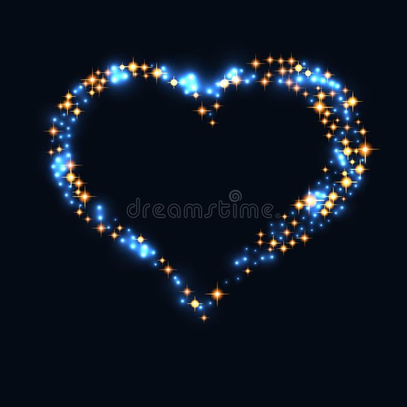 Diseño abstracto - partículas azules del brillo en forma del corazón Partículas chispeantes que brillan intensamente en fondo osc stock de ilustración