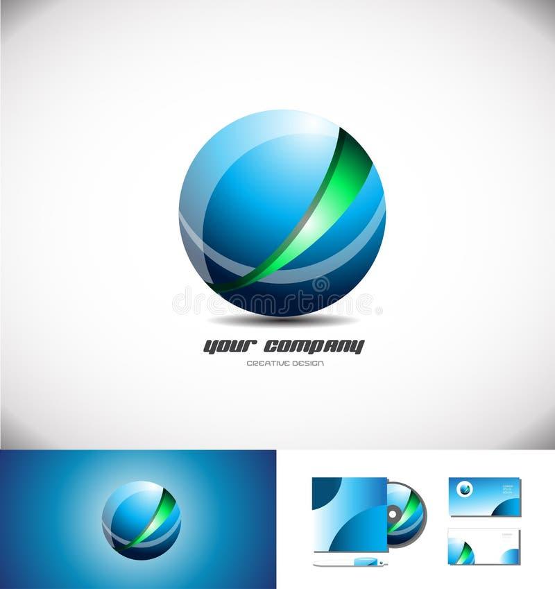 Diseño abstracto verde rojo del logotipo del shpere 3d libre illustration