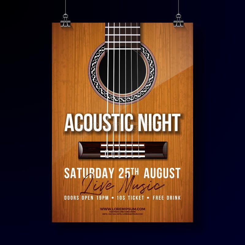 Diseño acústico del aviador del partido de la noche con la secuencia y letras en fondo de la guitarra Vector Live Music Illustrat stock de ilustración