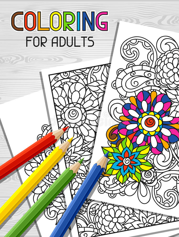 Diseño adulto del libro de colorear para la cubierta Ilustración stock de ilustración